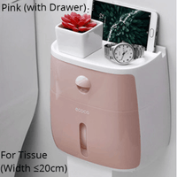 Waterproof Toilet Paper Holder Wall-Mounted Toilet Paper Dispenser Multifunction Tissue Storage Box - EbazoneShop