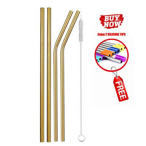 Reusable Stainless Steel Straws Multi Colored Metal Straw with Cleaning Brushes‏ - EbazoneShop