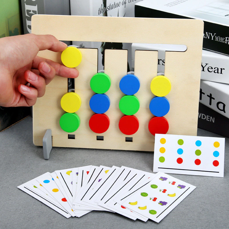 Montessori Toy Sided Game Educational Double Matching Wooden And Colors - EbazoneShop