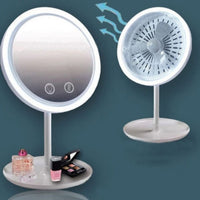 Mirror Led Fan Desktop Makeup 3in1 Electric Portable Vanity Cool 3 1 Cosmetic