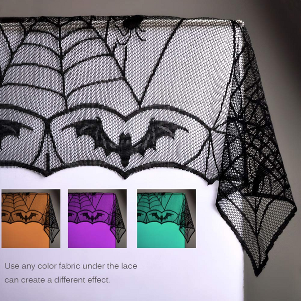 Halloween Decoration Lace Spider Web Skeleton Skull Tablecloth Black Fireplace - EbazoneShop