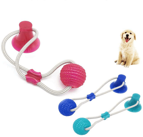 Pet Leaking Food Ball Toy Dog Molar Tooth Puzzle Leaking Bite Toy w/ Suction Cup - EbazoneShop