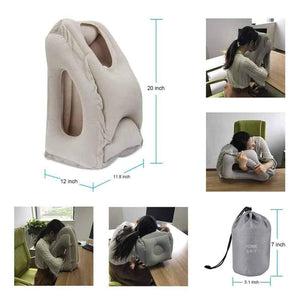 """Hug"" Pillow Face-Plant Inflatable Air Cushion Travel Pillow Headrest Chin for Airplane"