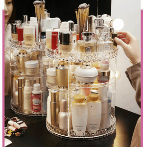 360 Rotating Makeup Organizer, DIY Adjustable Makeup Carousel Spinning Holder Storage Rack - EbazoneShop