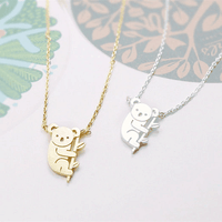 Cute Alloy Koala Animal Necklace Pendant For Women Fashion Jewelry Gift