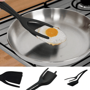 2-in-1 cooking Remove tongs Extra Help flip egg silicone grip and pancake turner omelet toast fried french - EbazoneShop