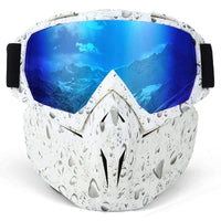 Removable mask that protects against cold winds, rain, snow, fog and UV rays.