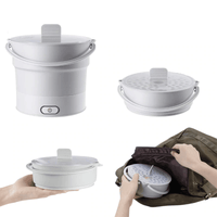Portable Electric Skillet Voltage 100V-240V Collapsible Electric Hot Pot Food Grade Silicone Mini Electric Kettle Travel Outdoor(grey) - EbazoneShop