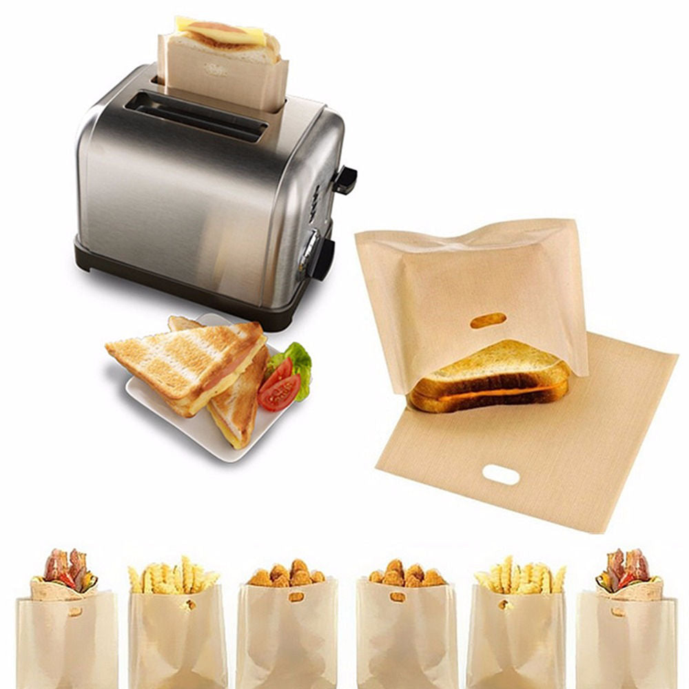 2pcs Toaster Bags for Grilled Cheese Sandwiches Made Easy Reusable Non-stick - EbazoneShop