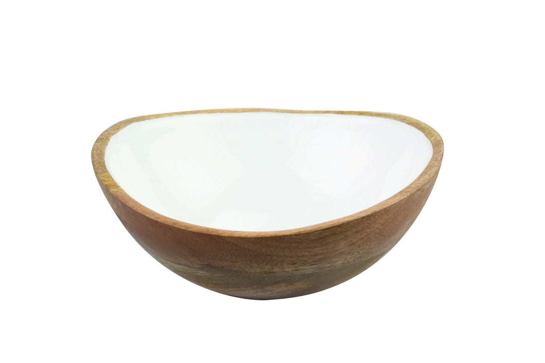 Mango Wood & White Enamel Bowl, Medium