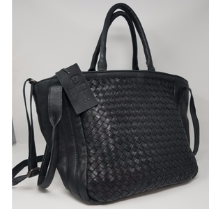 Woven Tote in Black Leather
