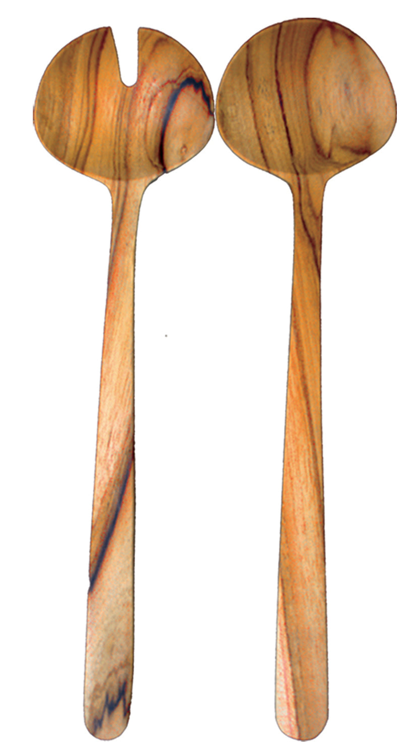 Teak Oval Serving Spoon Set