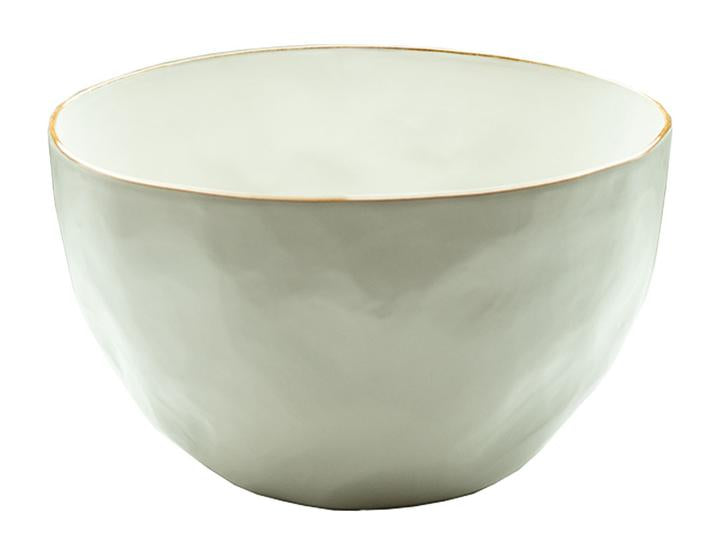 Tan Rim Stoneware Salad Bowl, Medium