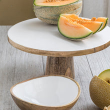 Load image into Gallery viewer, Mango Wood & White Enamel Cake Stand
