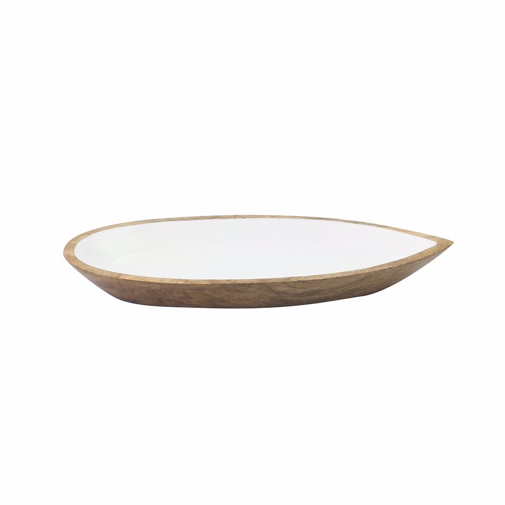 Mango Wood & White Enamel Oval Serving Dish, Small