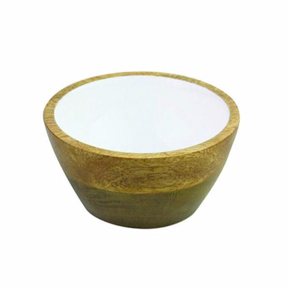 Mango Wood & White Enamel Condiment Bowl
