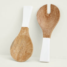 Load image into Gallery viewer, Mango Wood & White Enamel Serving Set