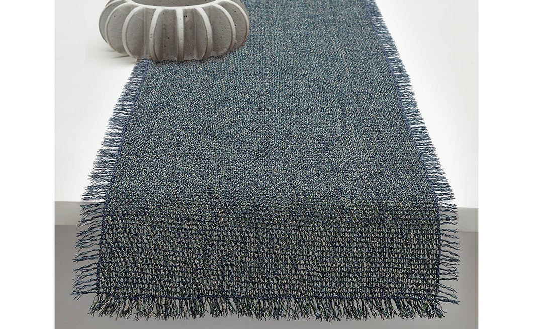 Market Fringe Table Runner in Pacific