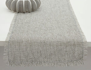 Market Fringe Table Runner in Quartz