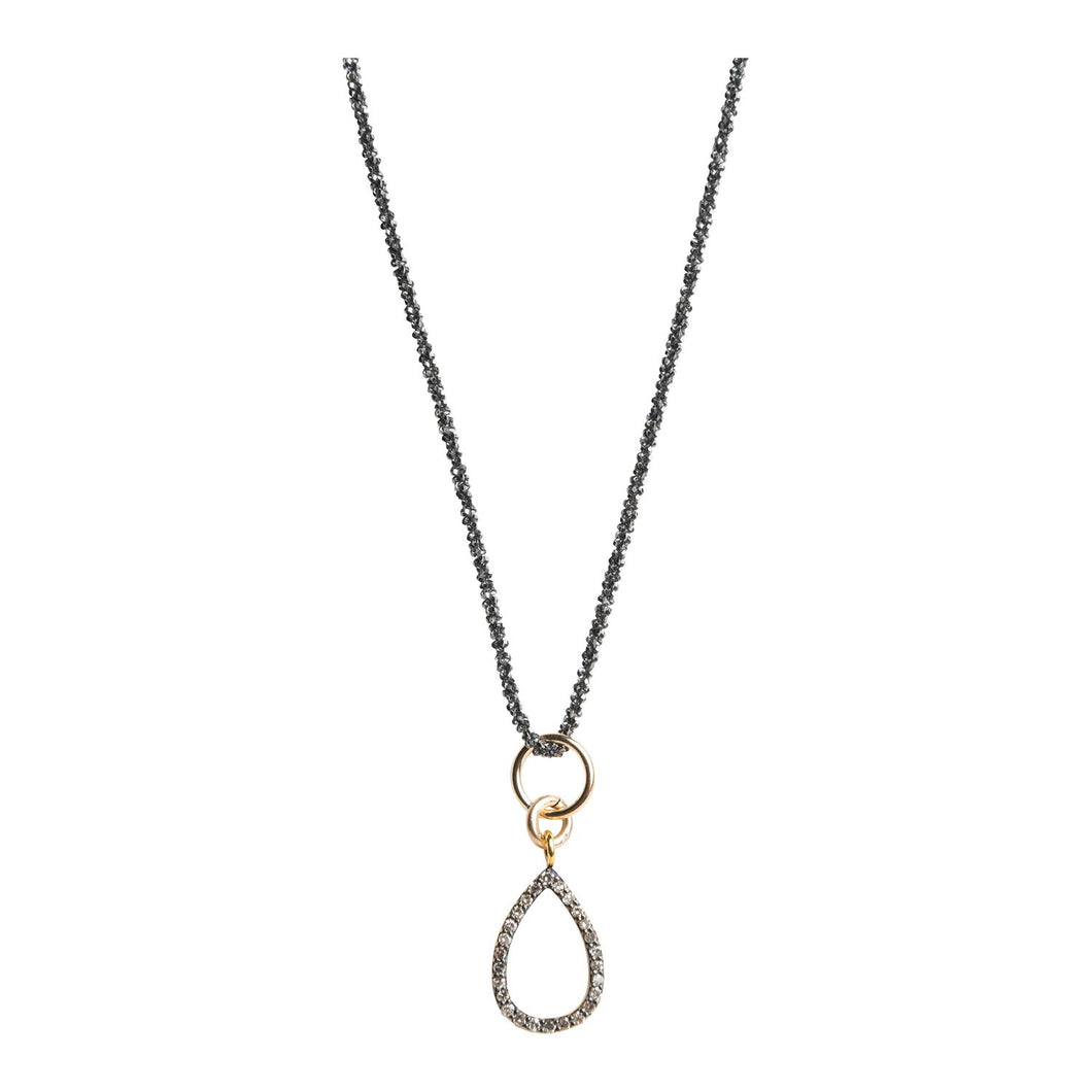 Open Teardrop Pave Diamond Necklace