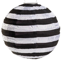 Load image into Gallery viewer, Round Solar Lantern, Black & White Stripe
