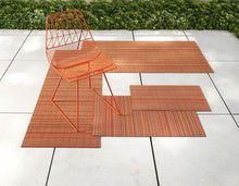 Load image into Gallery viewer, Skinny Stripe Shag Mat in Orange, Size Options