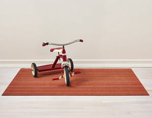 Skinny Stripe Shag Mat in Orange, Size Options