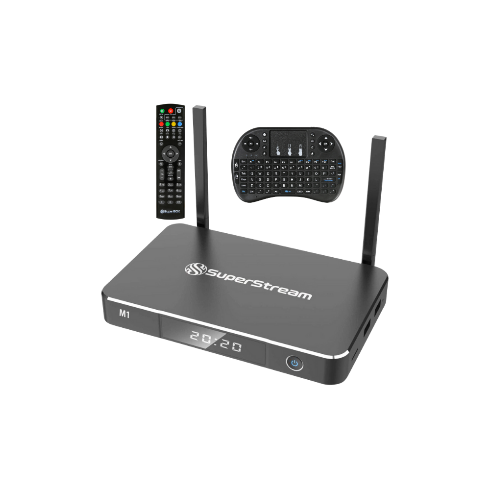 SuperStream M1 Android  9.0 4G 32G Fully Load Android  Streaming Device TV Box Support 2.4G/5G stream Media Player With Keyboard Remote