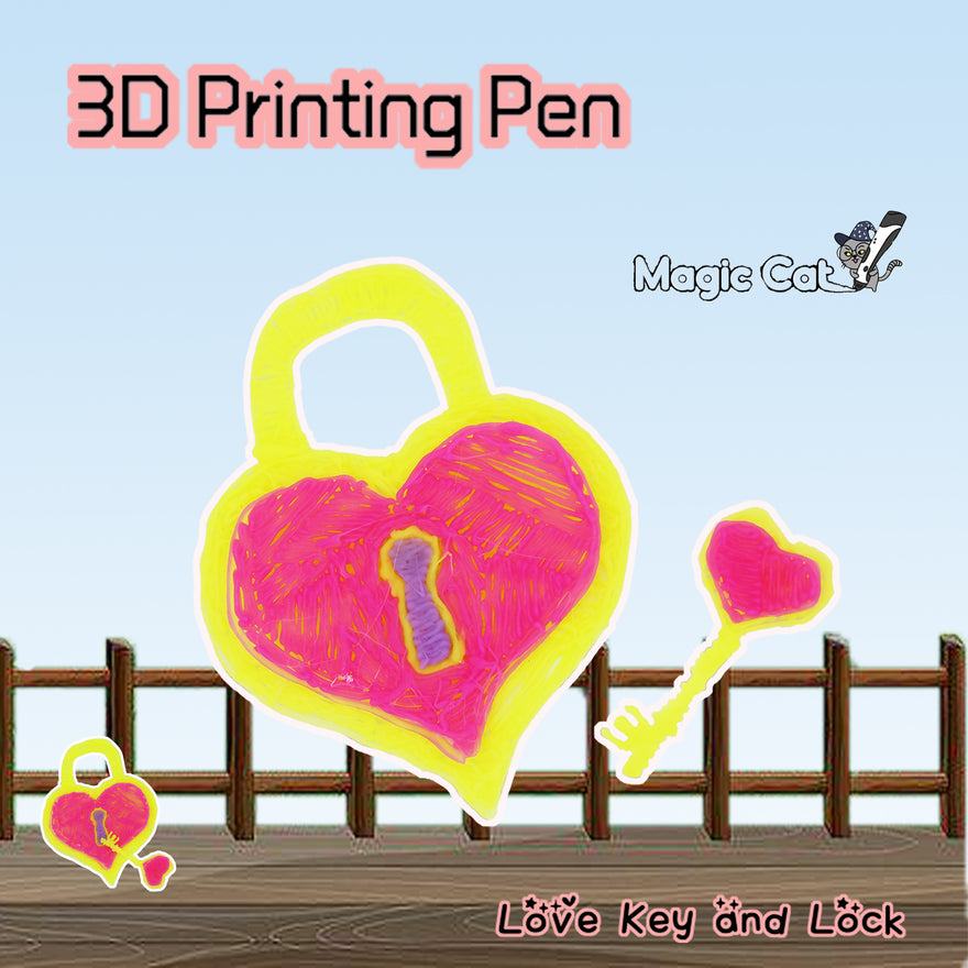 Love Key and Lock(MAGIC CAT 3D printing pen's stencil)