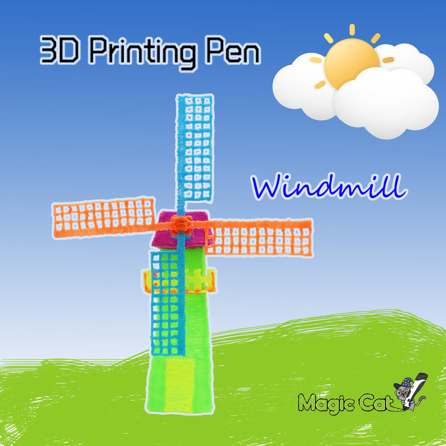 Windmill(Magic Cat 3D printing pen's stencil)