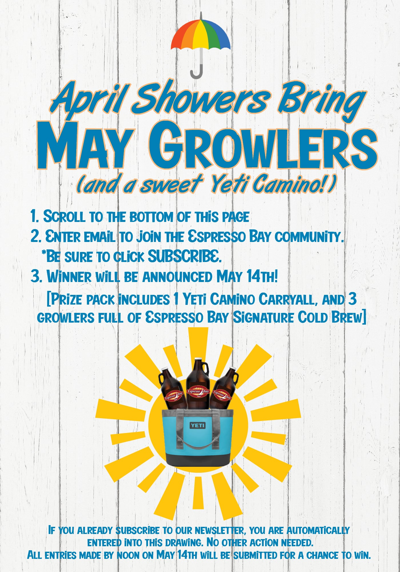 April Showers Bring May Growlers and Yeti Giveaway