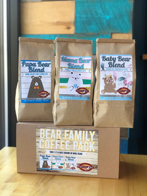Bear Family coffee gift box including Papa Bear, Mama Bear, and Baby Bear for a coffee lover gift, or new parents welcoming a baby. Hints of caramel, hazelnut, cinnamon, and maple flavors in the three different bags.