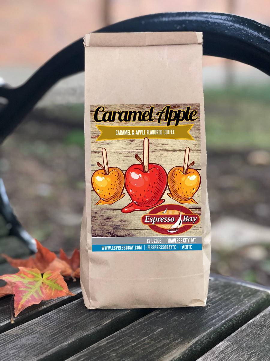 Caramel Apple flavored coffee, representing a fall favorite. Label showing classic caramel apples as a seasonal tradition.
