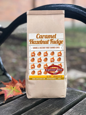 Caramel, Hazelnut and Fudge flavored coffee blend. Label representing caramel and hazelnut pattern as a favorite combination for Fall.