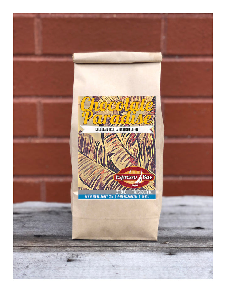 Chocolate Paradise- Chocolate truffle flavored coffee. Label representing palm trees for the chocolate lover's paradise.