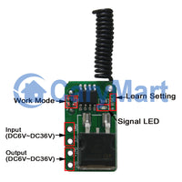 DC 6~36V Input Output Remote Control Kit with micro mini Wireless Receiver and RF transmitter (Model: 0020642)