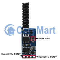 DC 4~12V Input Output Remote Control Kit with micro mini Wireless Receiver and RF transmitter (Model: 0020641)