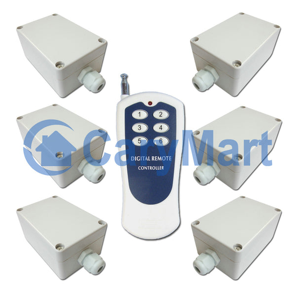 Wireless RF Remote Control Kit with 1 Transmitter and 6 AC 10A Output Receivers (Model: 0020458)
