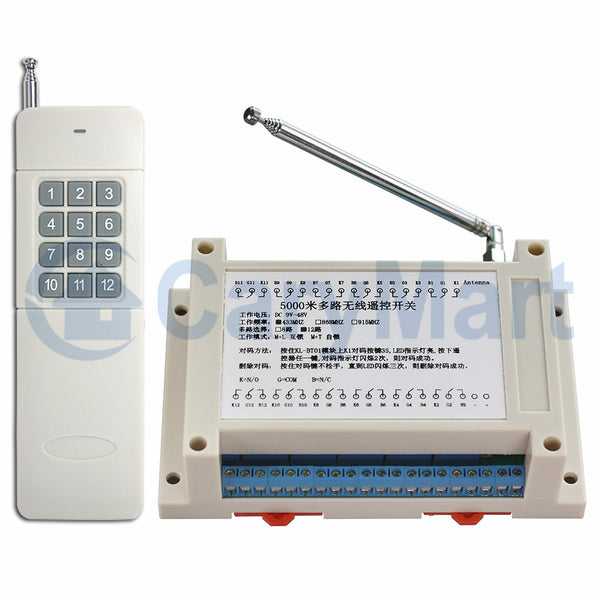 Long Range RF Wireless Remote Control Light Switch radio transmitter and receiver 12 Channels relay outputs (Model: 0020033)