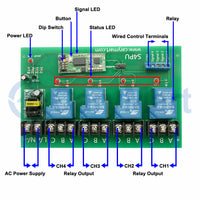5000M AC Wireless Switch With 4CH 30A High Power Relay Output (Model: 0020109)