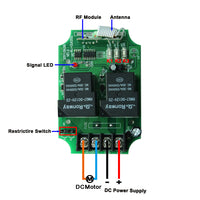 2CH 12V 24V 30A 433MHz Wireless Remote Control Receiver Kit for DC Electric Gear Motor (Model: 0020604)
