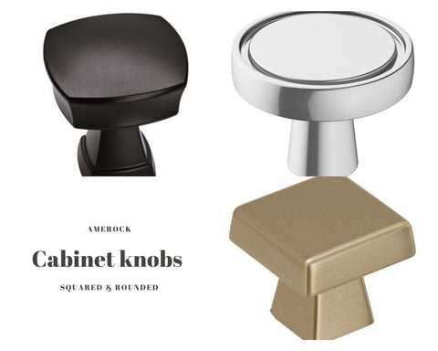 Rounded and squared cabinet knobs