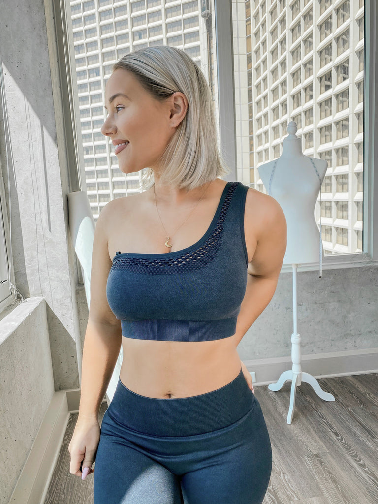 Essentials | Mineral Wash Asymmetrical Sports Bra (Charcoal)