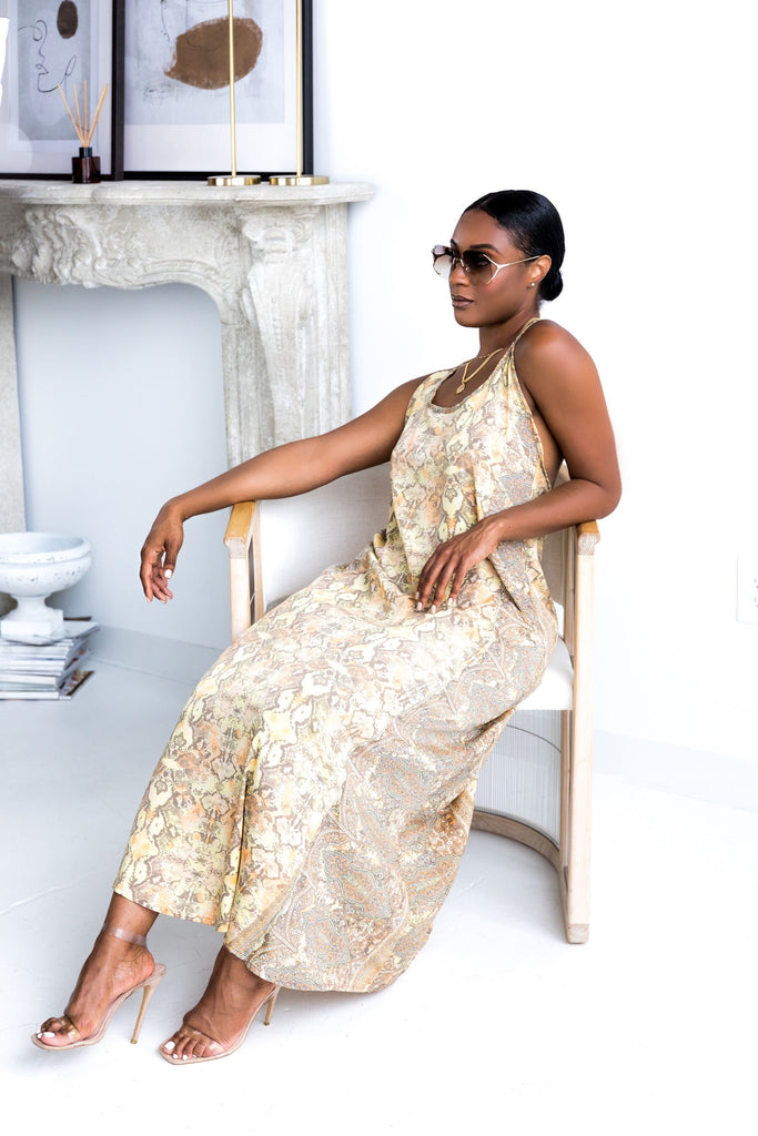 Yellow Snake Print | Maxi Dress