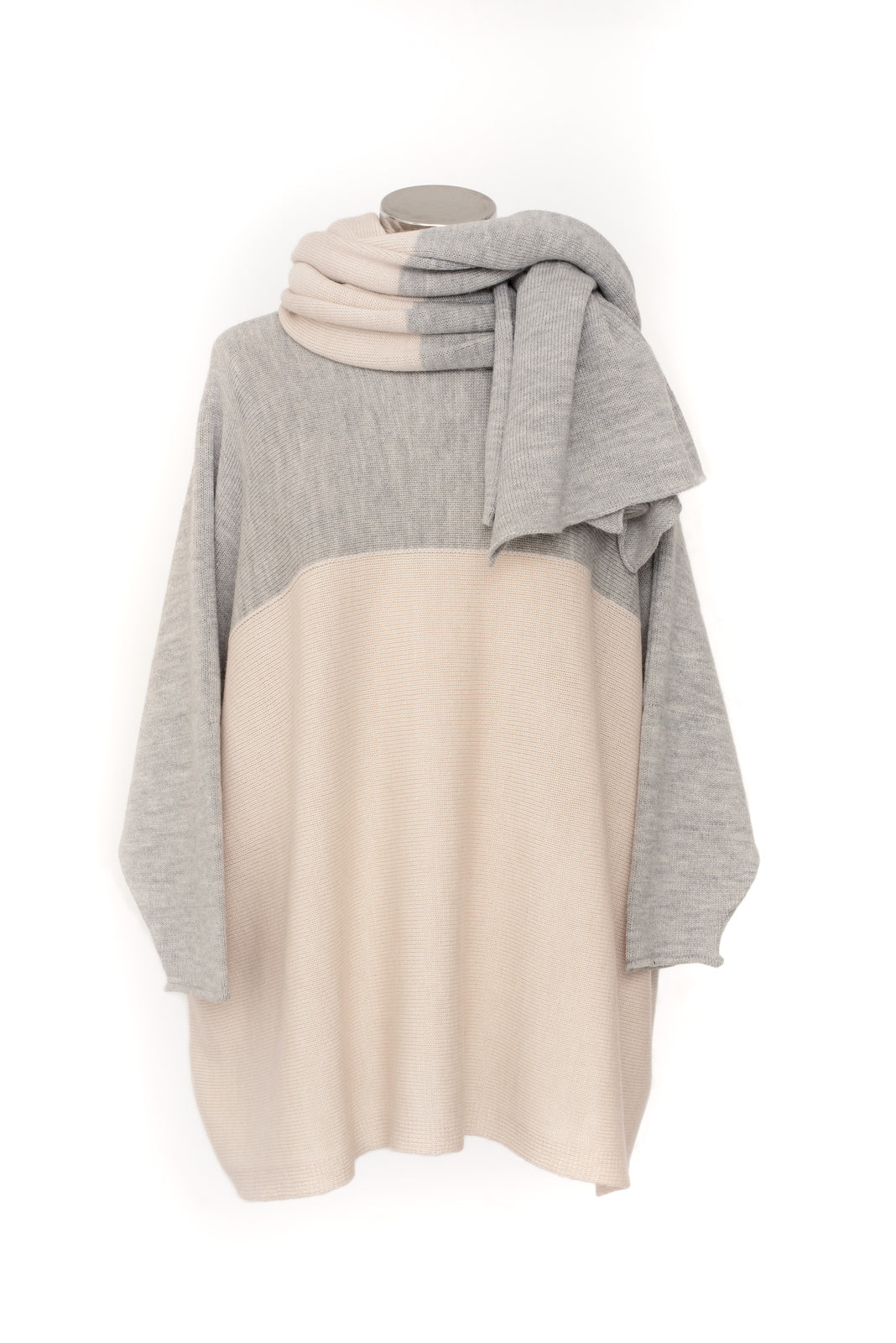 Two Colour Slash Neck Jumper with Matching Scarf