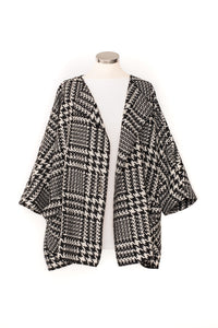 Houndstooth Wool Mix Waterfall Jacket