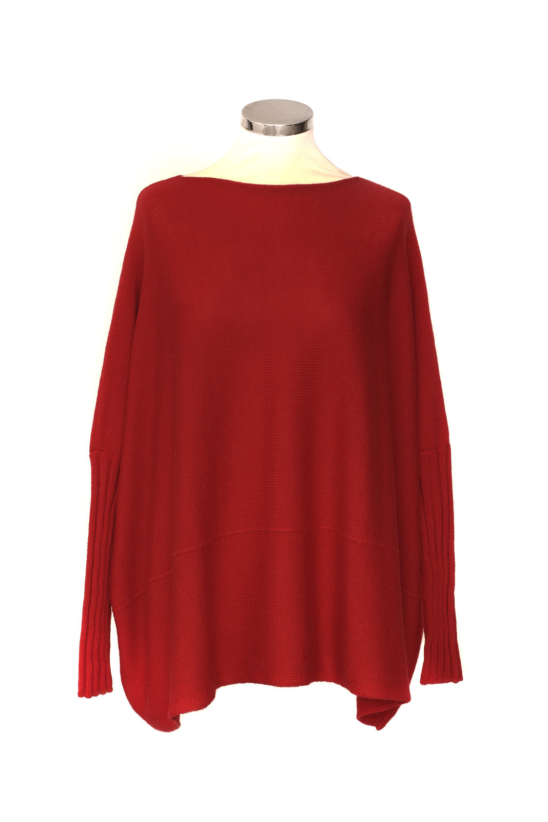 Slash Neck Short Sideways Rib Sleeve Jumper