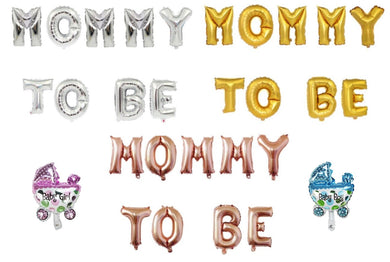 Letra Mommy To Be + Coche 16 Inch Dorado Gold Rose Plateado Newborn