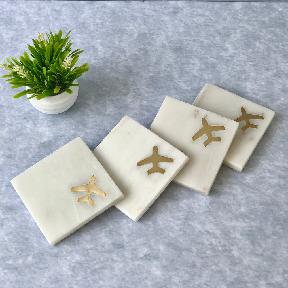 Colton Marble & Brass Jet Coasters (Set of 4)