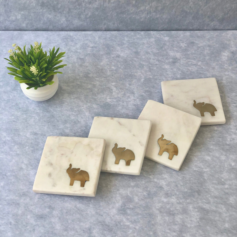 Orion Marble & Brass Elephant Coasters (Set of 4)